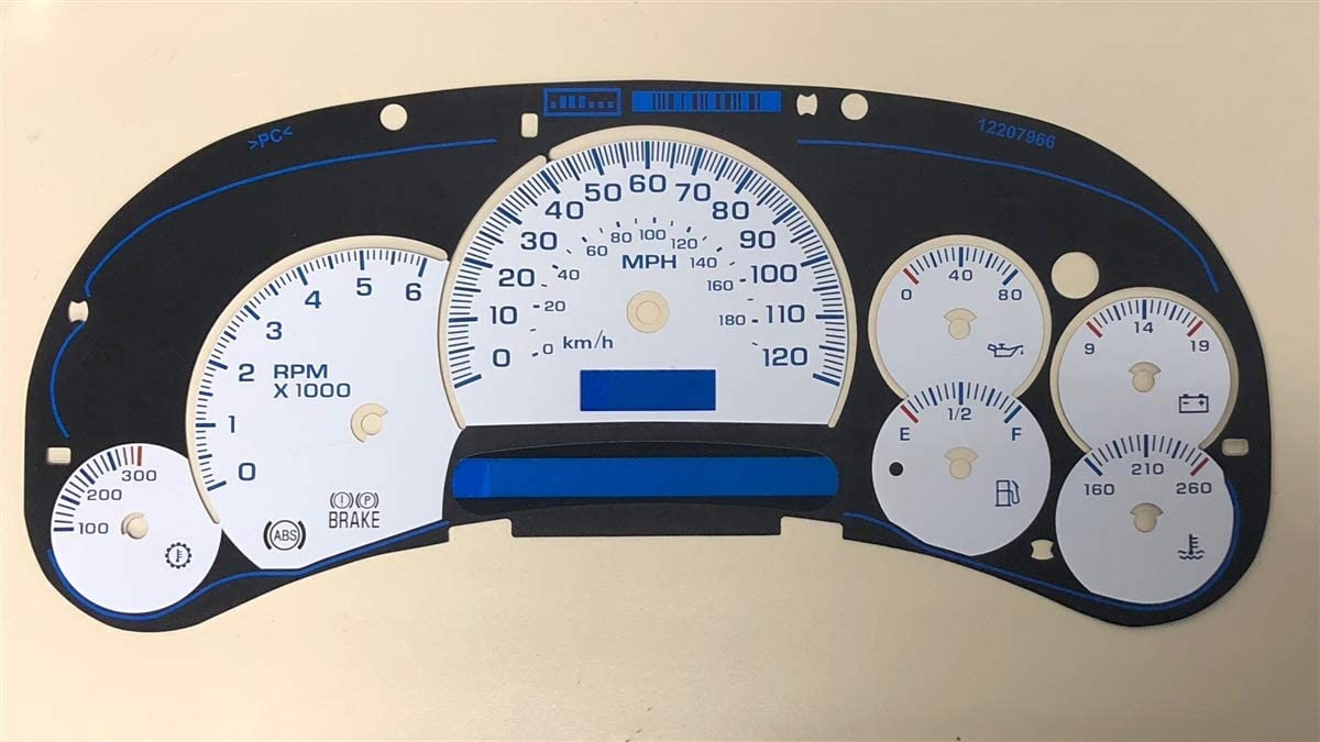 Tanin Auto Electronix Custom White/Black Gauge Face Overlay | Fits 2003-2005 GMC & Chevy Truck Instrument Cluster Speedometer | 7 Gauges | Overlay Only