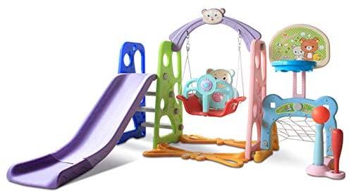BUCHI Slide and Swing Set for Toddlers 5 in 1 Kids Garden Slide Sturdy Baby Playground Indoor Outdoor Slide Climber Toy Playset Basketball Hoop Easy Setup Backyard Children Activity