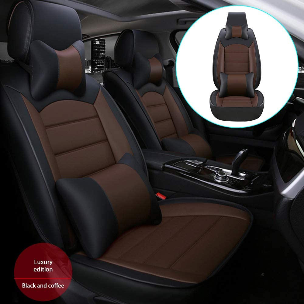 DBL Car Front Seat Cover for Toyota Tacoma (Airbag Compatible) Luxury PU Leatherette Car Seat Cushions Protector Black & Coffee