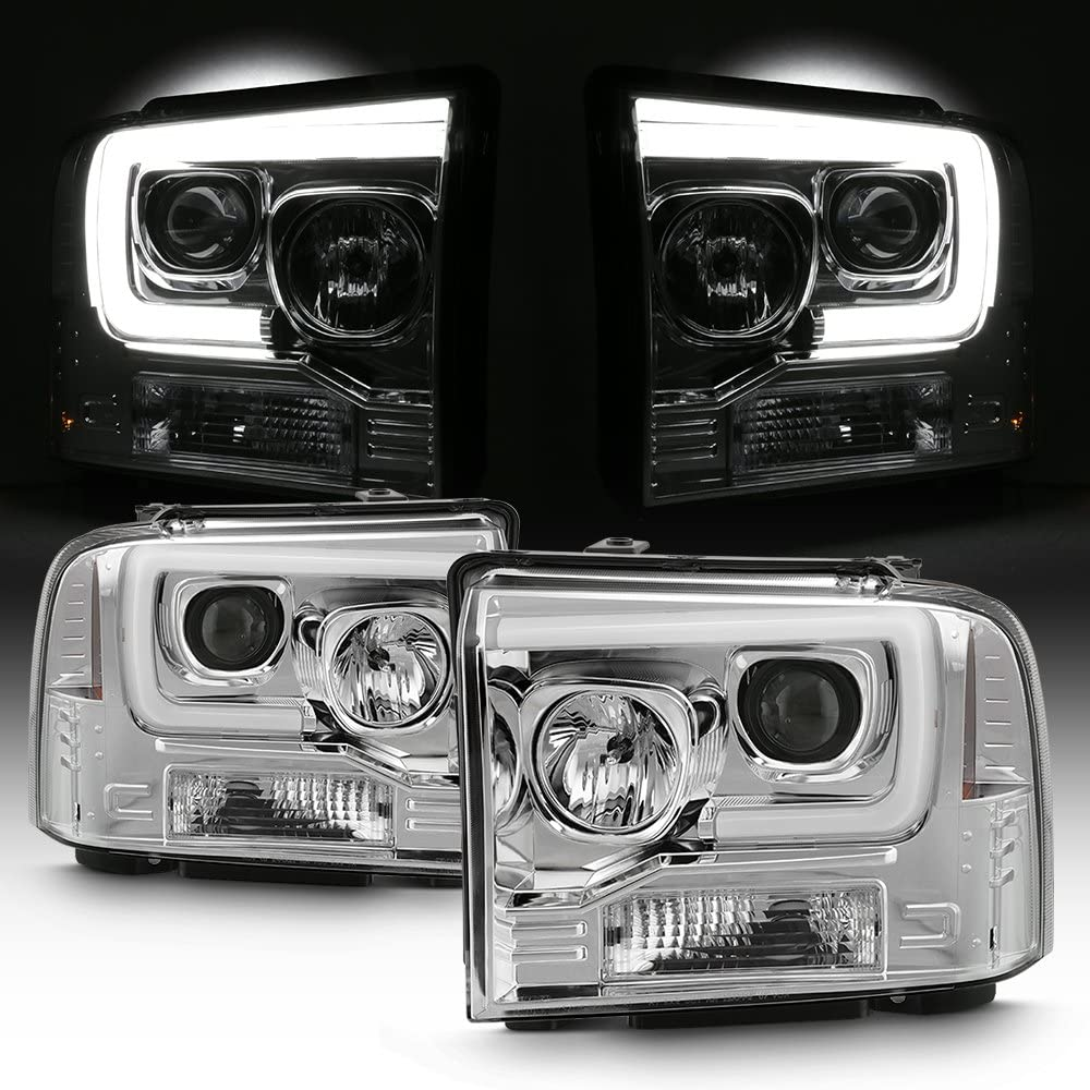 For 2005 2006 2007 Ford F250 F350 F450 Superduty LED Tube Bar Projector Headlights Pair Left+Right