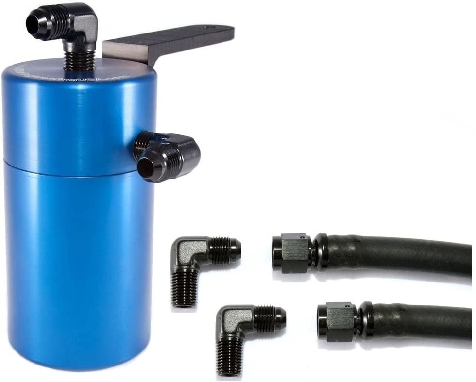 Elite Engineering Standard PCV Oil Catch Can & Hardware with Black AN Fittings for 2012+ Chevy Colorado/Canyon - BLUE