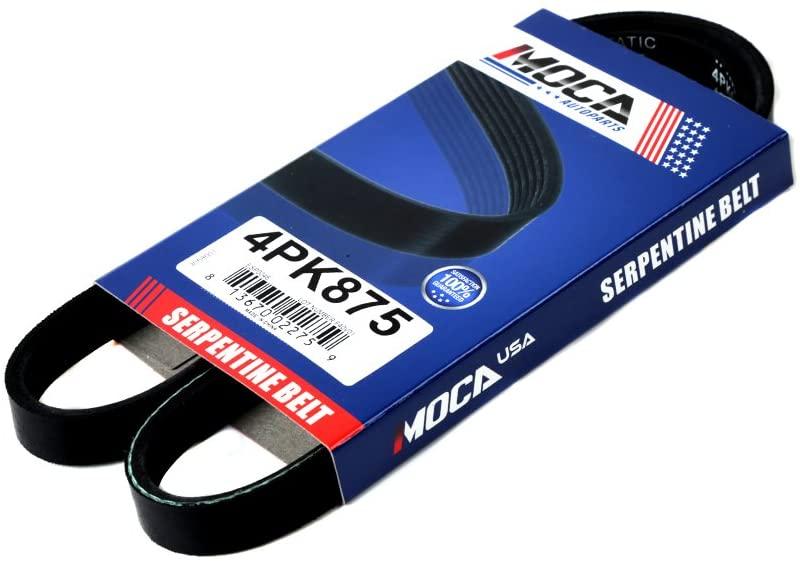 MOCA 4PK875 EPDM Serpentine Belt Fits 03-08 PT Cruiser 2.4L L4 & 96-08 Hyundai Elantra 2L L4