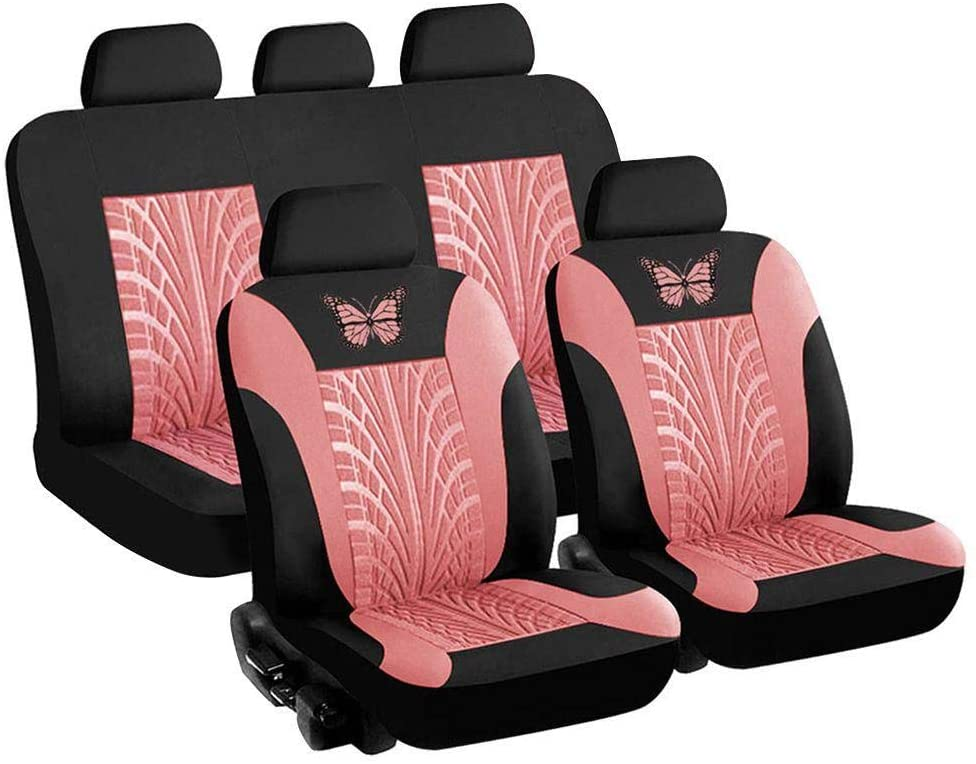 zqxsales 4/9 PCS Universal Car Seat Cover Full Set, Butterfly 3D Tire Print Automobile Interior Accessories Protector Car Seat Cover, Gray/Pink/Red/Blue