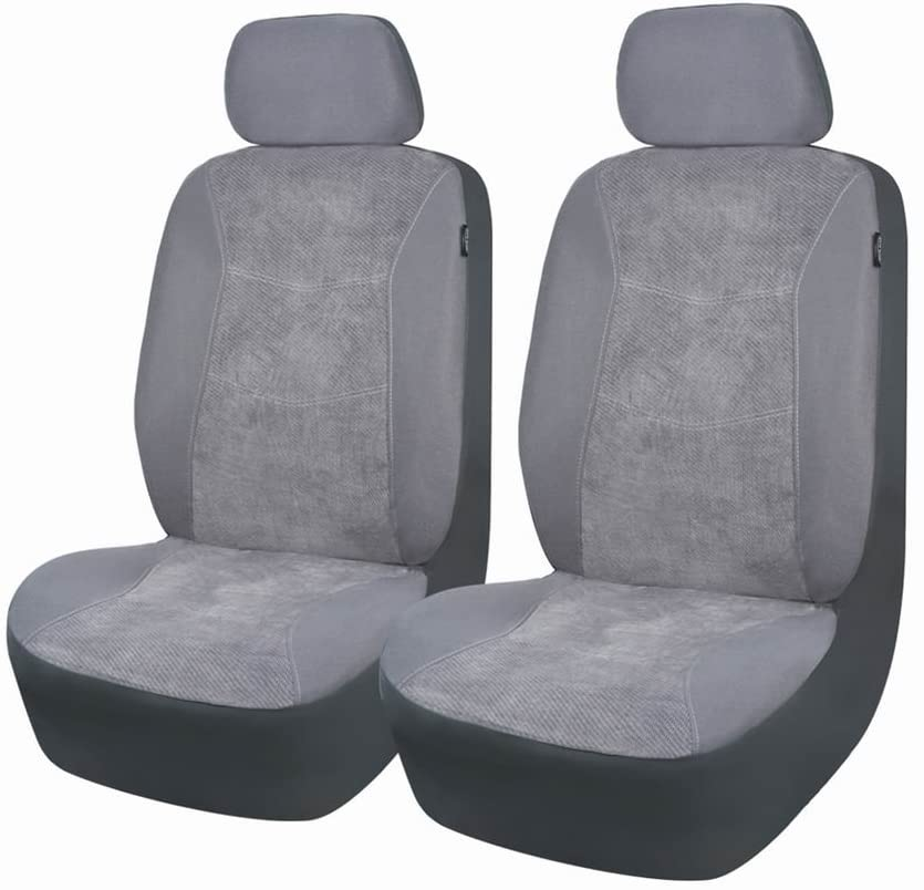 Flying Banner Car Seat Covers 6 PCS Front Seats Corduroy Splicing Velvet Cover Gray