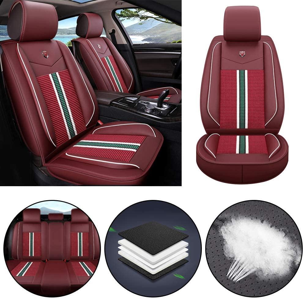 Jiahe Car Seat Cover for Dodge Avenger Durango Dakota Ram Universal Car Seat Protectors 5-Seat Full Set Artificial Leather Waterproof,Easy Install,Lafite Red Standard