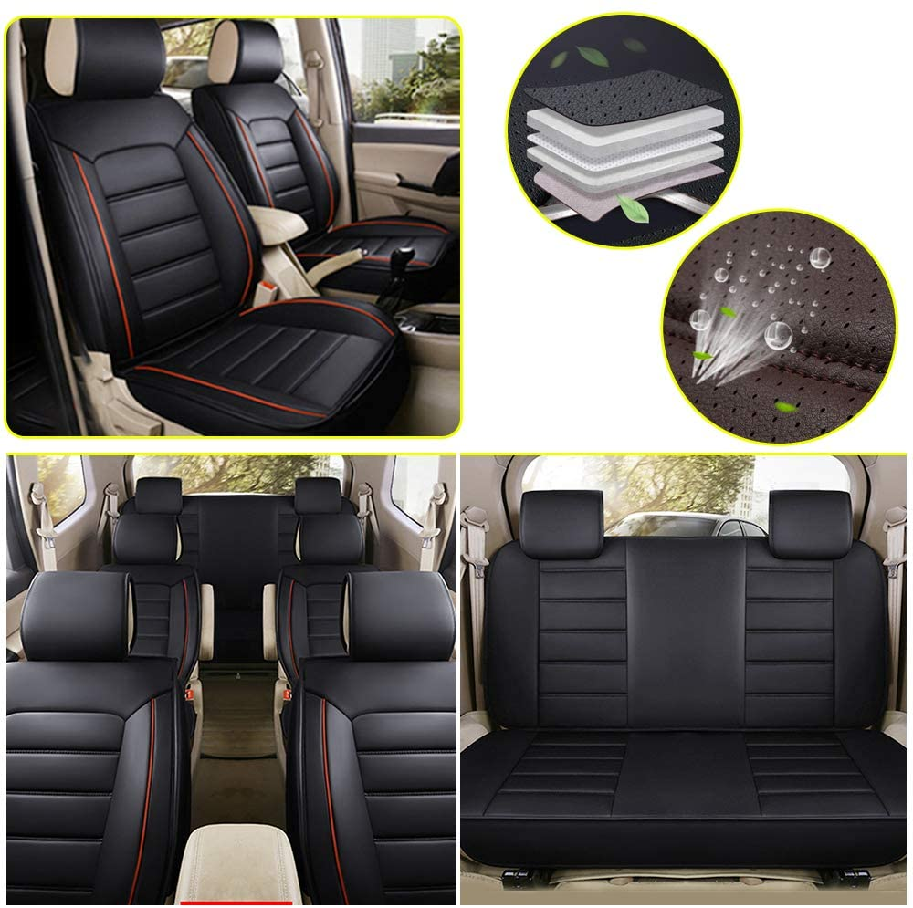 ALLYARD Custom PU Leather Seat Covers 7-Seats Universal Fit Most Car,Truck,SUV Fit for Lexus RX All Season Protection Front Seat+Rear Seat Full Set Black
