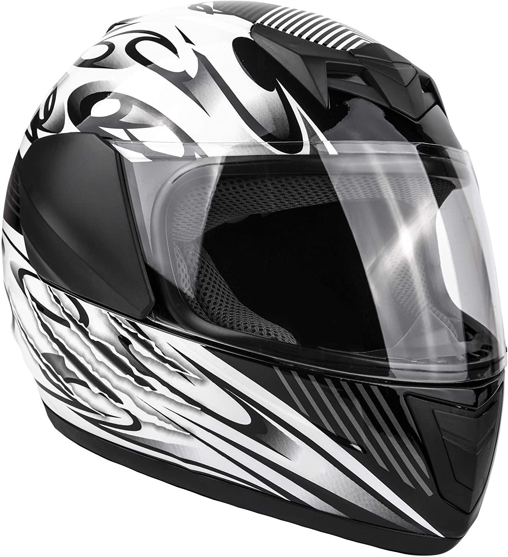 Typhoon Youth Full Face Motorcycle Helmet Kids DOT Street - Ships Same Day - Black (Medium)