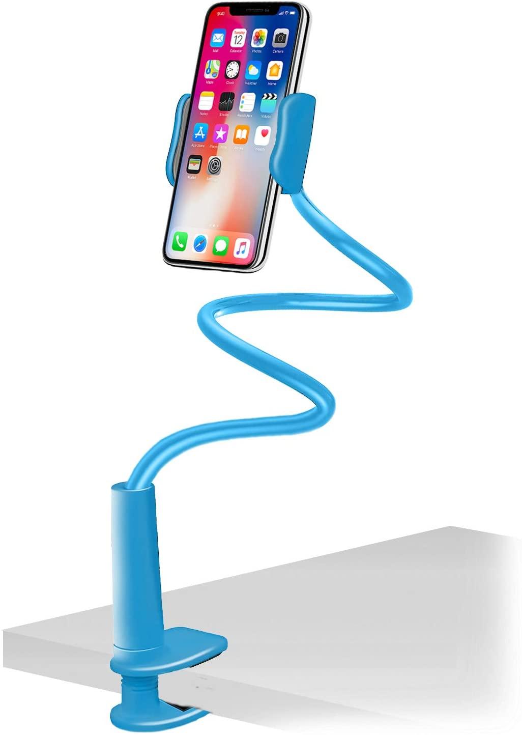 Aduro Solid-Grip Phone Holder for Desk - Adjustable Universal Gooseneck Smartphone Stand, with Durable Mount (Blue)
