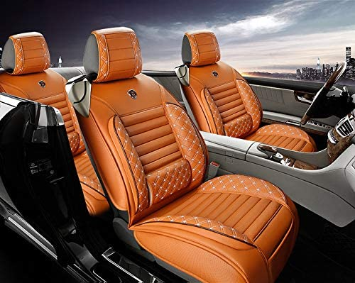 All Weather Custom Fit Seat Covers for Hyundai Accent 2006-2019 5-Seat with Lumbar Cushion Comfortable Package Orange Full Set