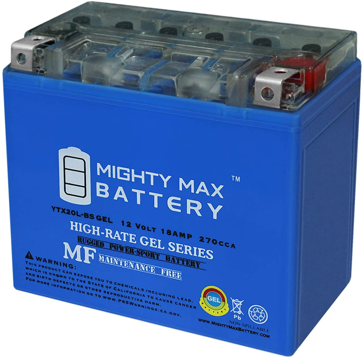 Mighty Max Battery YTX20L-BS Gel Replaces Can-Am Commander Defender Maverick 1000 11-18 Brand Product