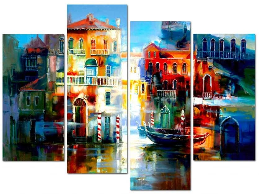 Wieco Art Colorful Cityscape Giclee Large Canvas Prints Wall Art Landscape Pictures Paintings Ready to Hang for Living Room Home Office Decorations The Bay of Heart Modern Framed City Artwork L