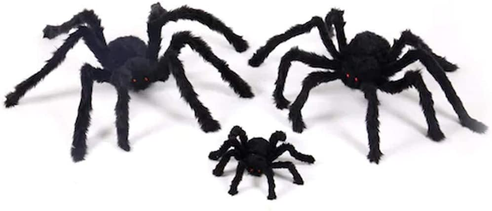 Simulation Fluffy Fake Spider, Spider Toys with Spider Web for Halloween Party Scary Decoration, Haunted House Props, Prank, Prop, Gardens, Children, Party Favors (30cm spider & 1.5m spider webs)