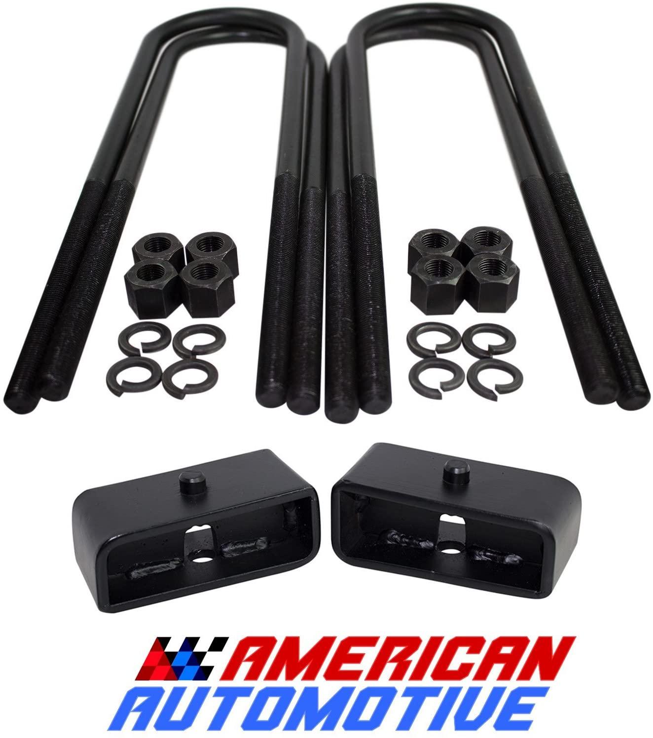 American Automotive 1999-2020 F250 F350 2 Rear Lift Blocks Super Duty Kit 2WD 4WD & U Bolt Super Duty Kit