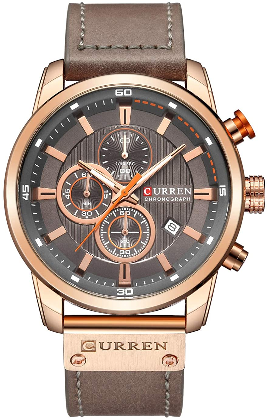 Mens Leather Strap Watches Classic Casual Dress Stainless Steel Waterproof Chronograph Date Analog Quartz Watch
