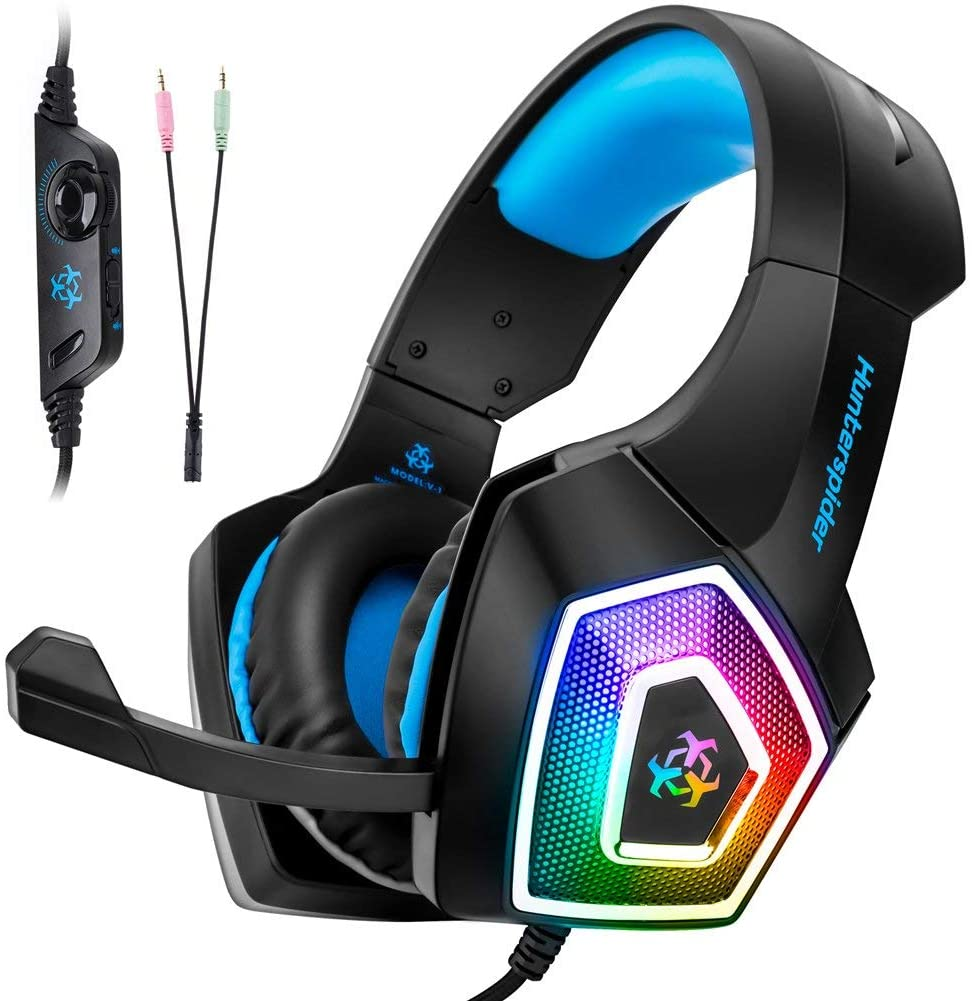 HLD Over-Ear Gaming Headset w/Mic for Xbox, PS4, PC, Switch - Stereo Bass Headphones - 3.5mm - Noise Canceling