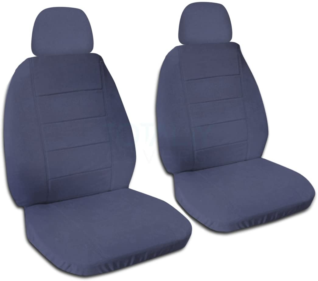 Totally Covers Solid Color Car Seat Covers w 2 Separate Headrest: Blue Gray - Universal Fit - Front - Buckets - Option for Airbag, Seat Belt, Armrest & Seat Release/Lever Compatible (22 Colors)