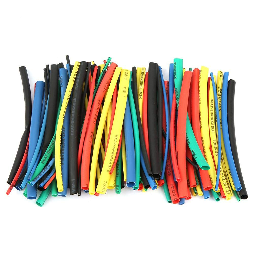 100 PCS Heat Shrink Tube,5 Sizes 5 Color 100mm Heat Shrink Sleeve Wire Cable Insulated Sleeving