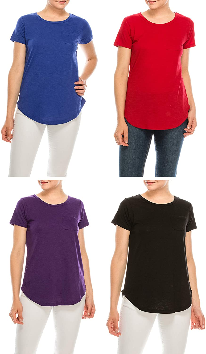 Urban Diction Pack of 4 Women's Loose Essential Solid Colors Basic Scoop Neck Tees