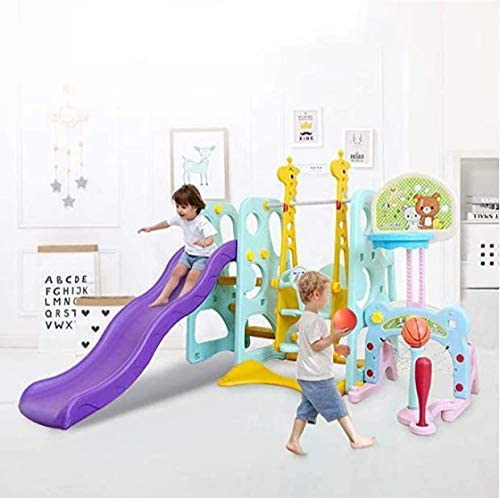 Toddler Climber and Swing Set, 6 in 1 Indoor & Outdoor Climber Slide Playset Baby Swing w/Basketball Hoop, Easy Climb Stairs for Infant Backyard Playground Toys (Multicolour, from US 3-7 Days)