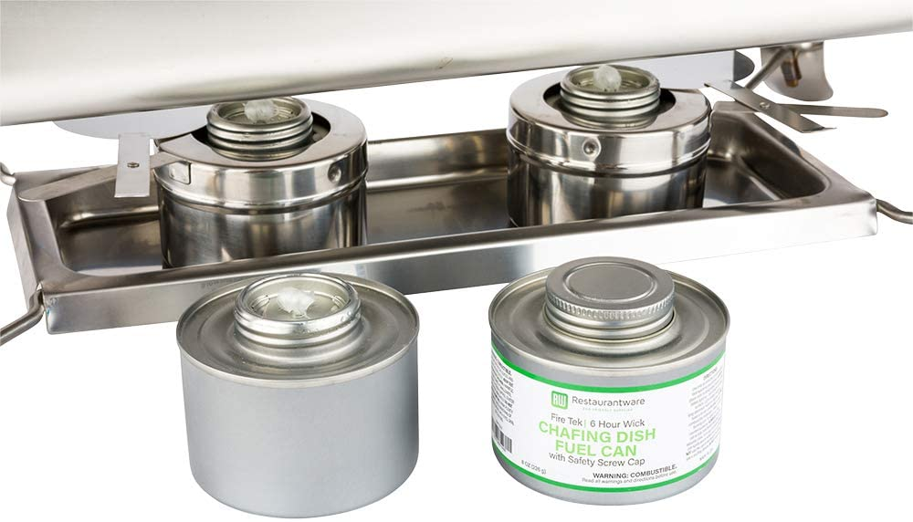 Silver Diethylene Glycol Chafing Dish Fuel Can - 6-Hour Wick, Safety Screw Cap - 24ct Box - Fire Tek - Restaurantware