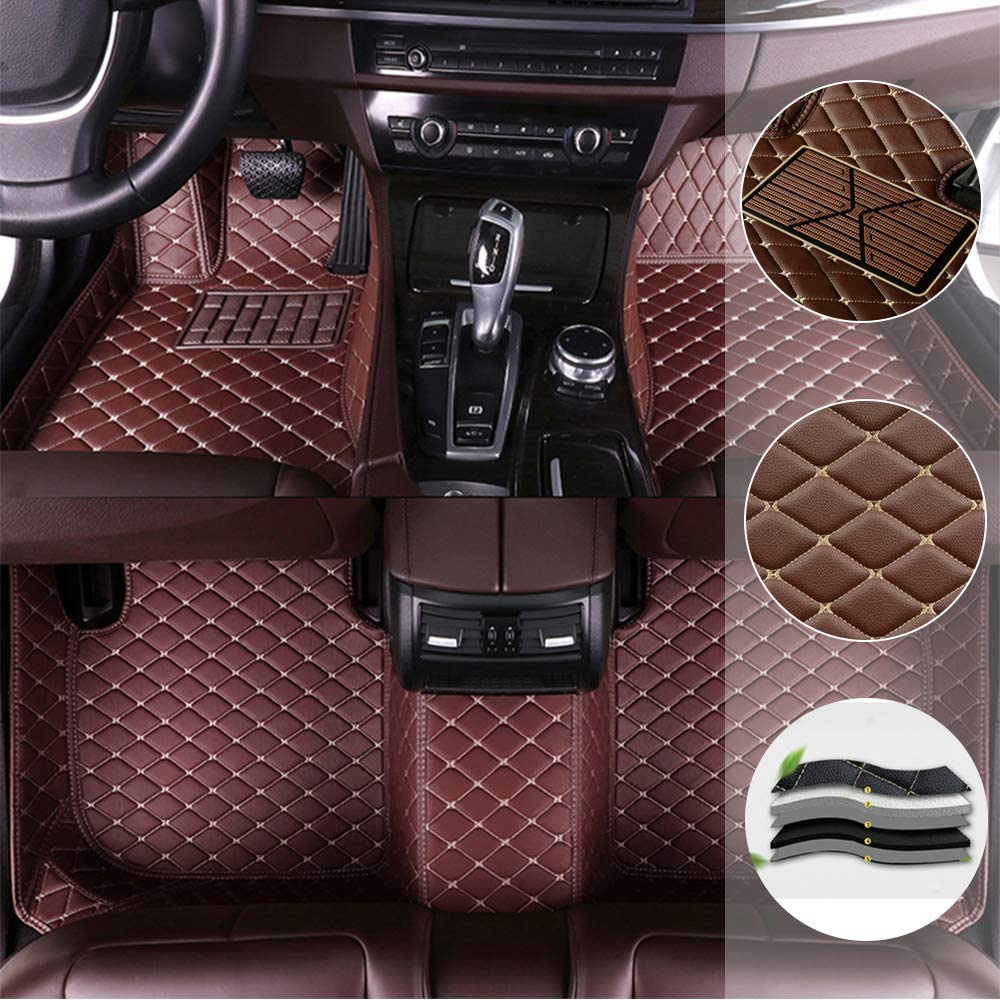 saitake Car Floor Mats for Mitsubishi Pajero V73 2008-2011 Full Coverage Liner All Weather Front and Rear Floor Mats Waterpoof Non-Slip PU Leather Pad Left Drive Coffee