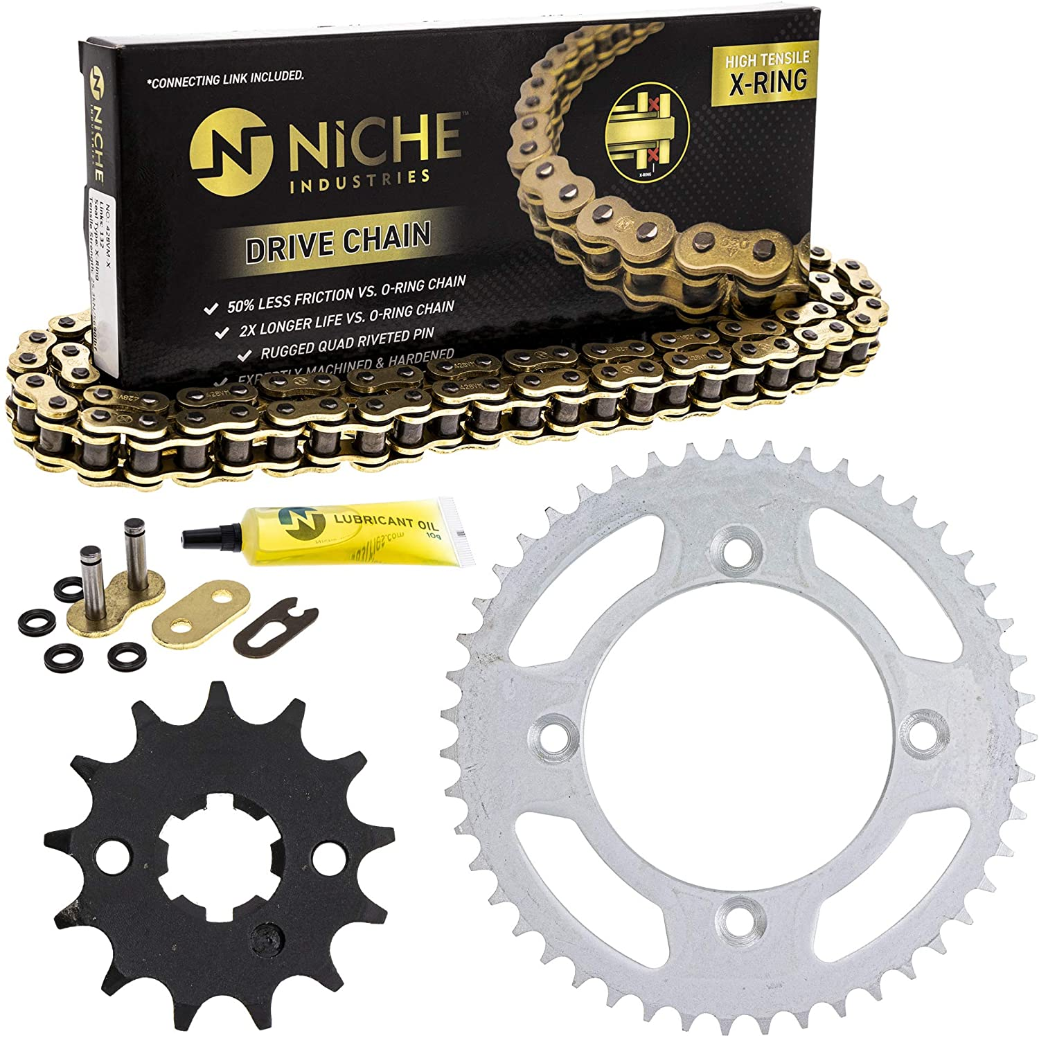 NICHE Drive Sprocket Chain Combo for Suzuki RM85L Front 13 Rear 47 Tooth 428VM-X X-Ring 122 Links