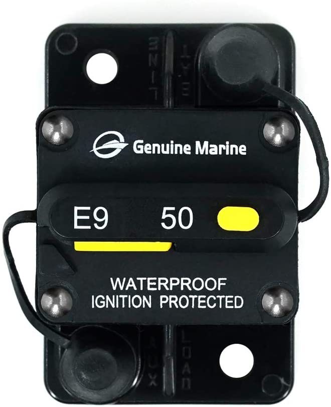50-Amp Circuit Breaker, Waterproof and Dustproof Surface-Mount Trolling with Manual Reset (50A)