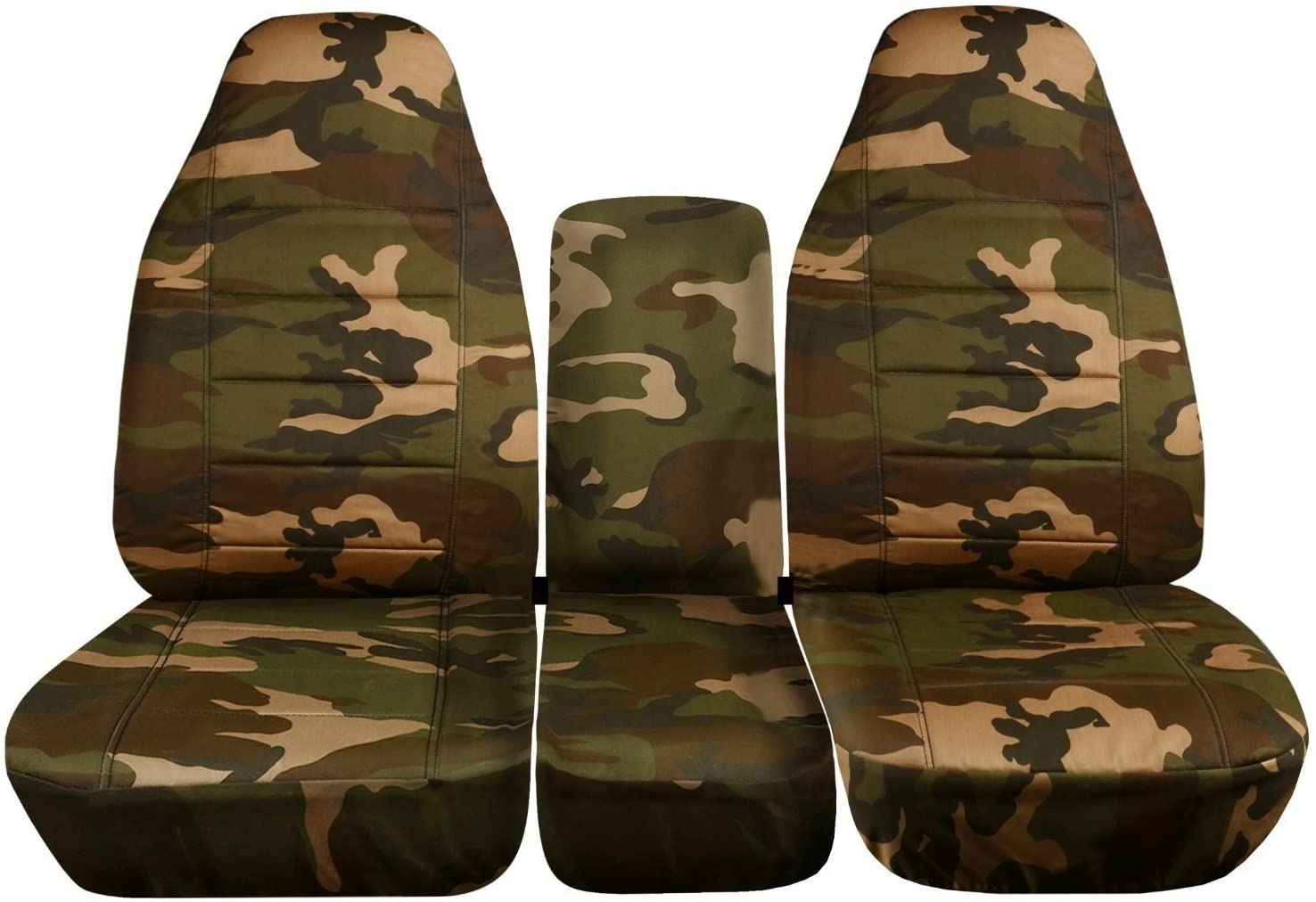 Totally Covers Compatible with 1994-2002 (2nd Gen) Dodge Ram Camo Truck Seat Covers (40/20/40 Split Bench) w Center Console - Front: Brown & Green w/wo Integrated Belts