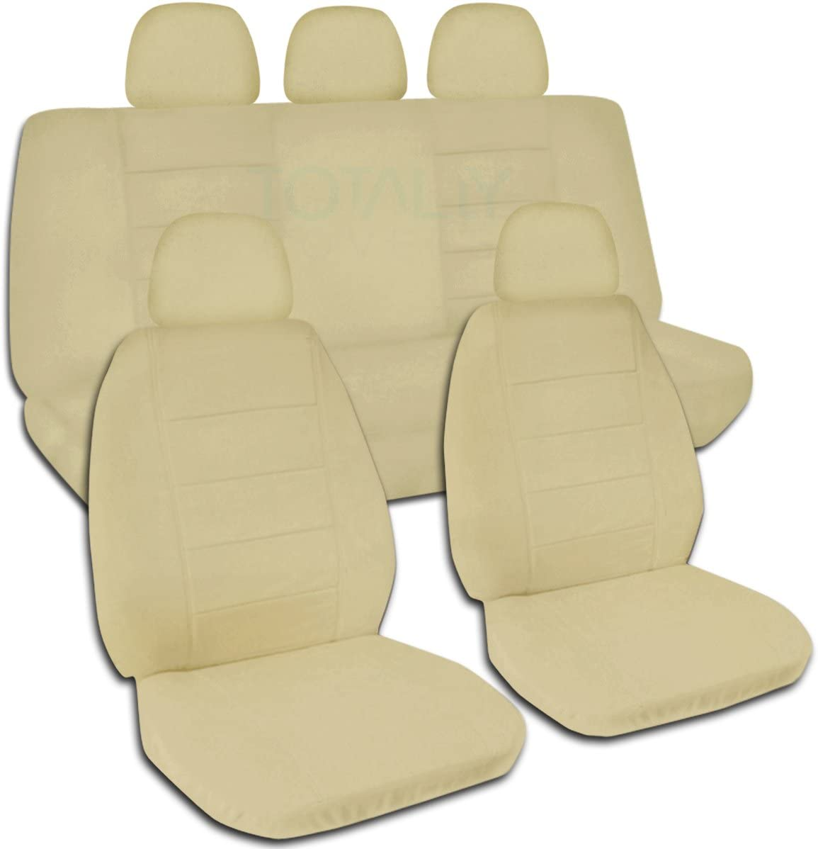 Totally Covers Solid Color Car Seat Covers w 5 (2 Front + 3 Rear) Headrest Covers: Sand - Universal Fit - Full Set - Buckets & Bench - Option for Airbag/Seat Belt/Armrest/Lever/Split Compatible