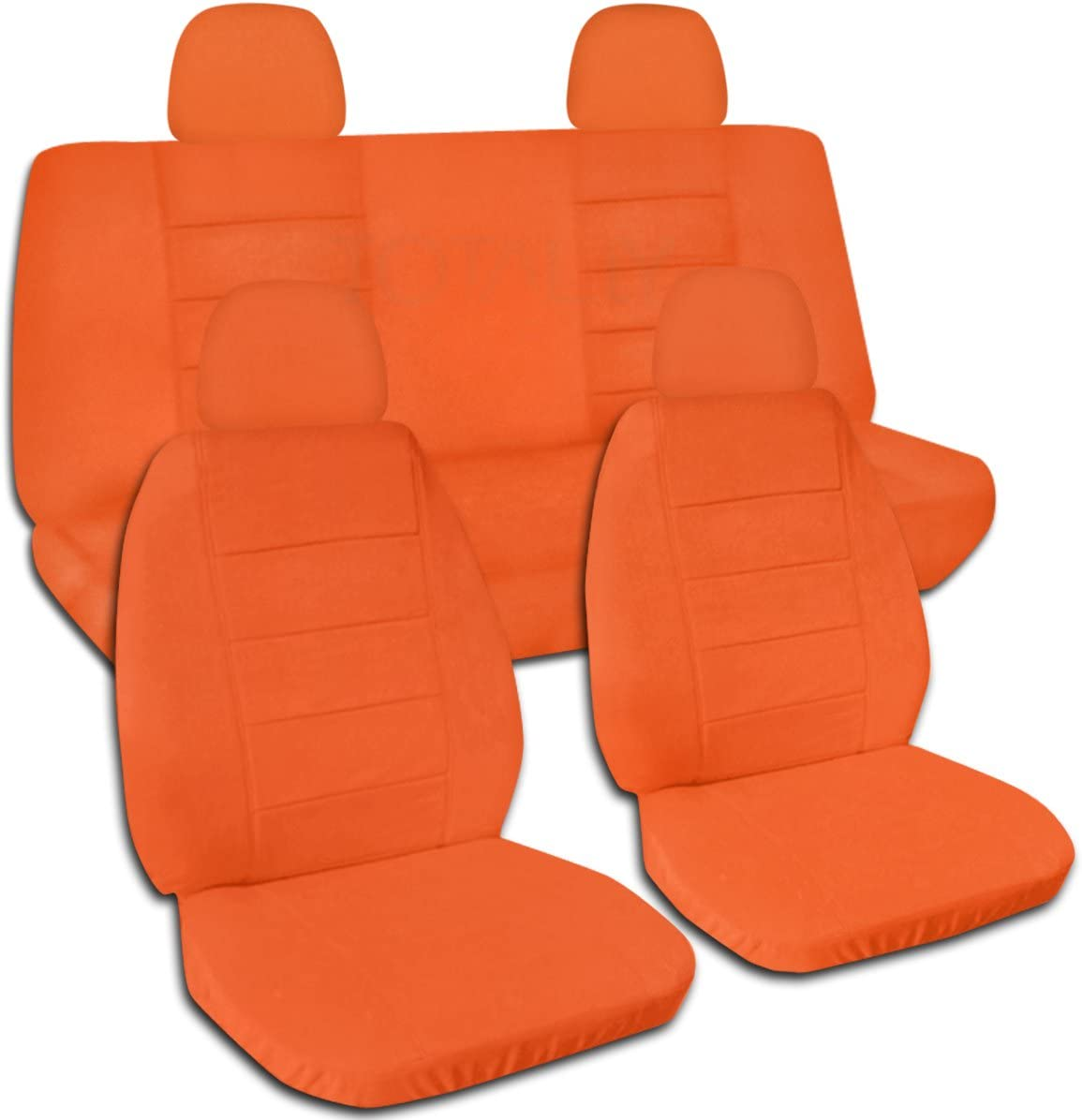 Totally Covers Solid Color Car Seat Covers w 4 (2 Front + 2 Rear) Headrest Covers: Orange - Universal Fit - Full Set - Buckets & Bench - Option for Airbag/Seat Belt/Armrest/Lever/Split Compatible