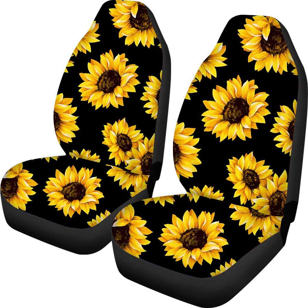 Dremagia Sunflowers Car Seat Covers Front Seats Only Auto Seat Cover Mats Car Accessories Universal Fit SUV Van Truck, 2 Pieces