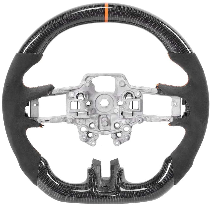 Gorgeri Car Steering Wheel Carbon Fiber Steering Wheel with Orange Stitching 12 O‑Clock Ring for Ford Mustang EcoBoost/Shelby