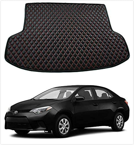 Kune Black Red Leather All Weather Cargo Liner Boot Carpet Liner Trunk Mat for Toyota Corolla 2014-2019
