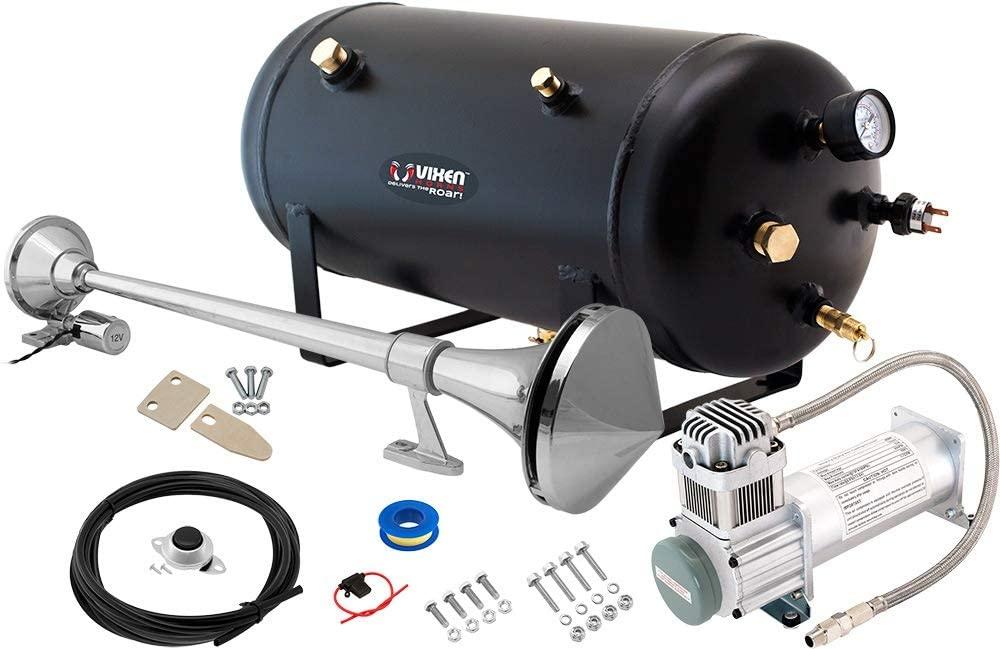 Vixen Horns Train Horn Kit for Trucks/Car/Semi. Complete Onboard System- 200psi Air Compressor, 5 Gallon Tank, 1 Trumpet. Super Loud dB. Fits Vehicles Like Pickup/Jeep/RV/SUV 12v VXO8350/1168C