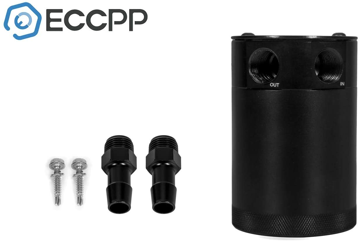 ECCPP Brand New 300ML Universal Aluminum Engine Oil Catch Tank Can Polish Baffled Reservoir 2-port Air-Oil Separator Black