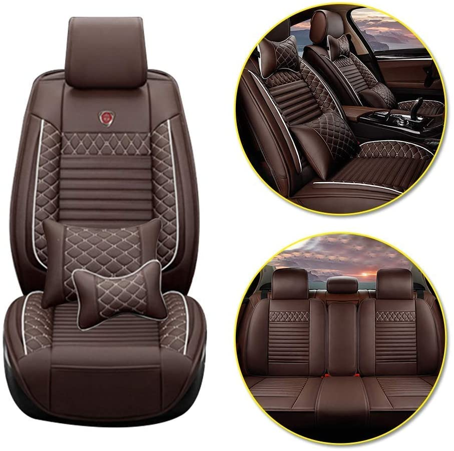Custom Car Seat Covers for BMW X1 E84 All Weather 5-Seat Front Rear Seat Pad Seat Cushion Cover Coffee Color