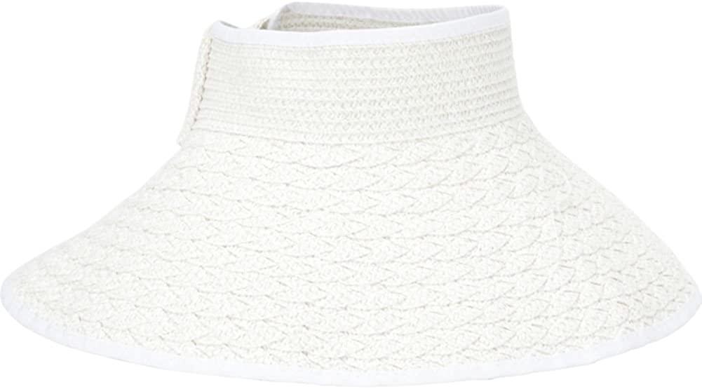 MAGID Women's Braided Straw Packable Roll Up Wide Brim Sun Visor