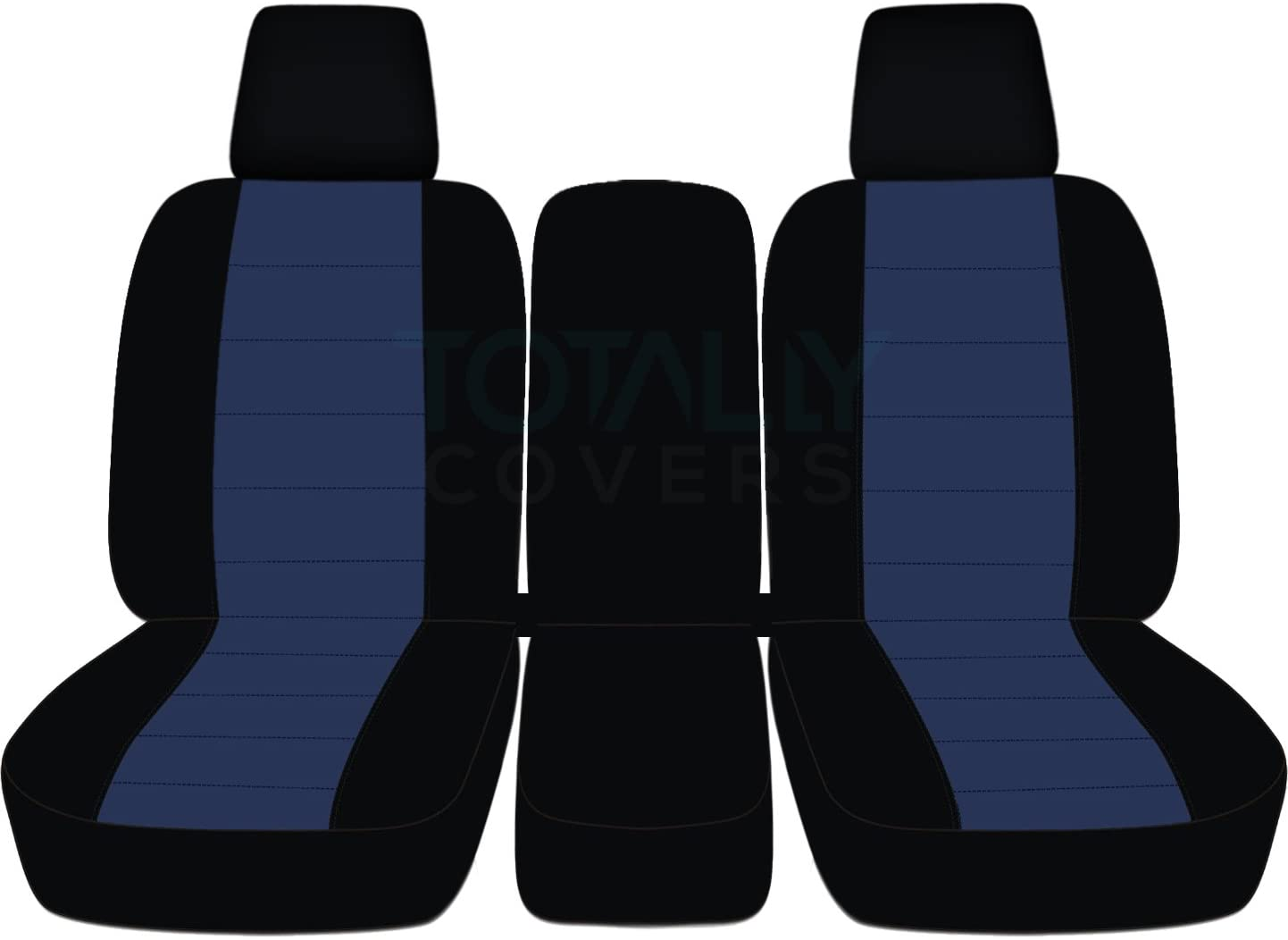 Totally Covers Compatible with 2004-2008 Ford F-150 Two-Tone Truck Seat Covers (Front 40/20/40 Split Bench) w Center Console/Armrest, w/wo Integrated Seat Belts: Black & Navy Blue F-Series F150
