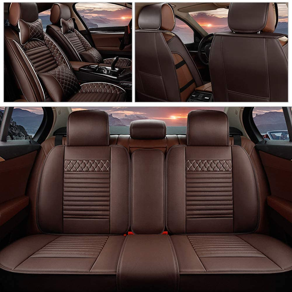 Maite PU Leather Car Seat Covers Cushions 5 Seats Full Set for Porsche Cayenne Cayenne E-Hybrid Macan Front Rear Seat Pad Protectors (Coffee Color)