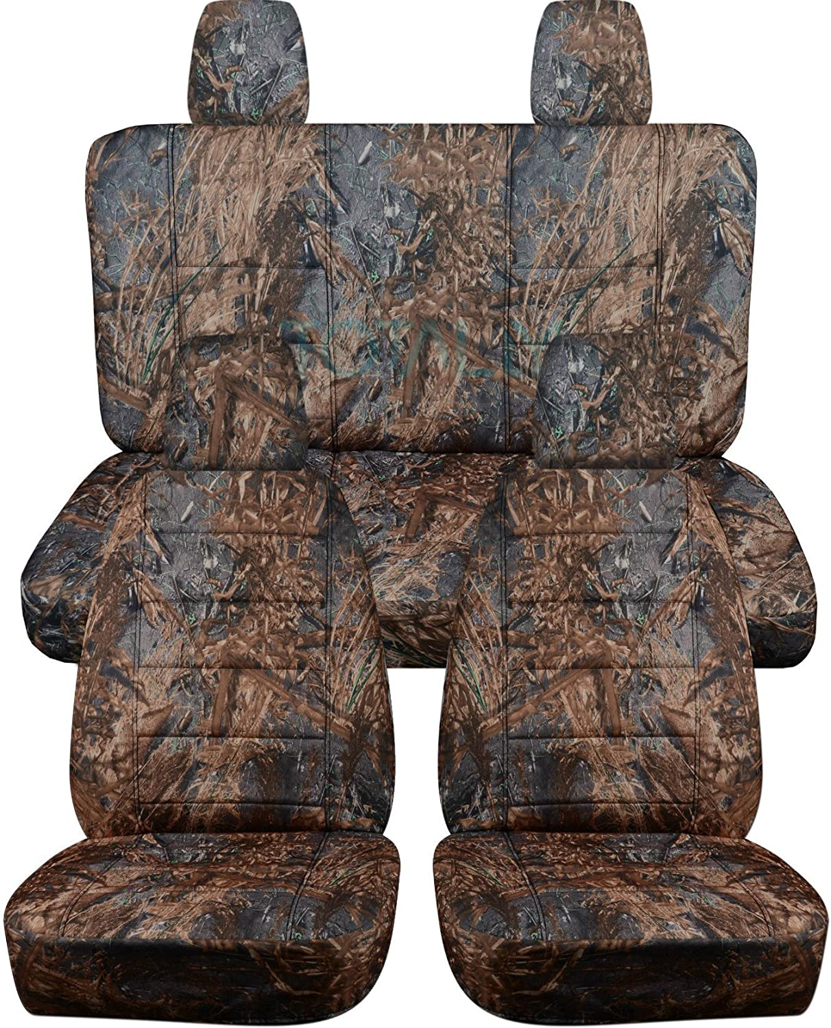 Totally Covers Compatible with 2018-2020 Jeep Wrangler JL Camo Seat Covers: Reeds Camouflage - Full Set: Front & Rear (19 Prints) 2-Door/4-Door Solid/Split Bench Back w/wo Armrest/Headrest
