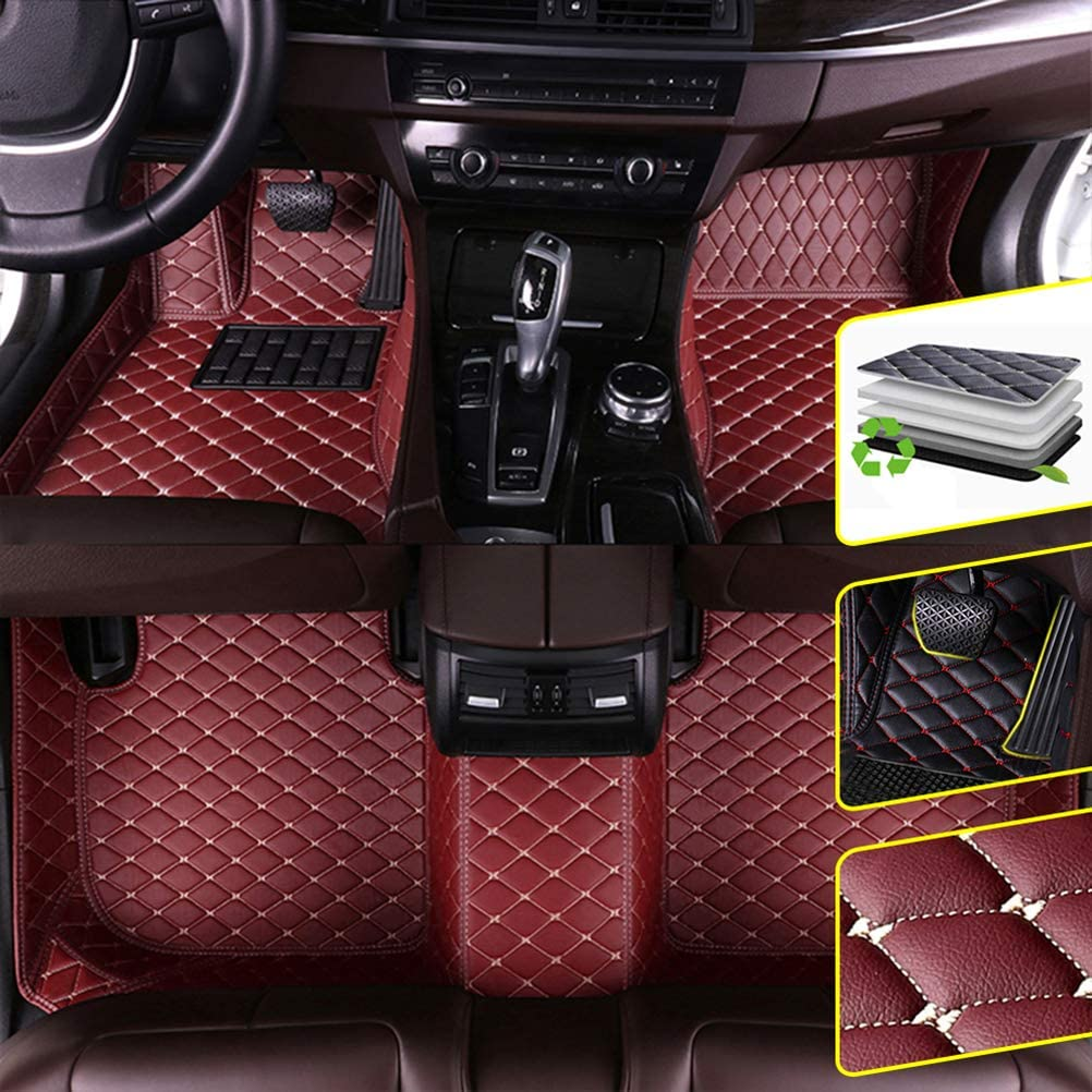 DBL Custom Car Floor Mats for Volkswagen Touareg (Low Match) 2011-2018 Waterproof Non-Slip Leather Carpets Automotive Interior Accessories 1 Set Red Wine
