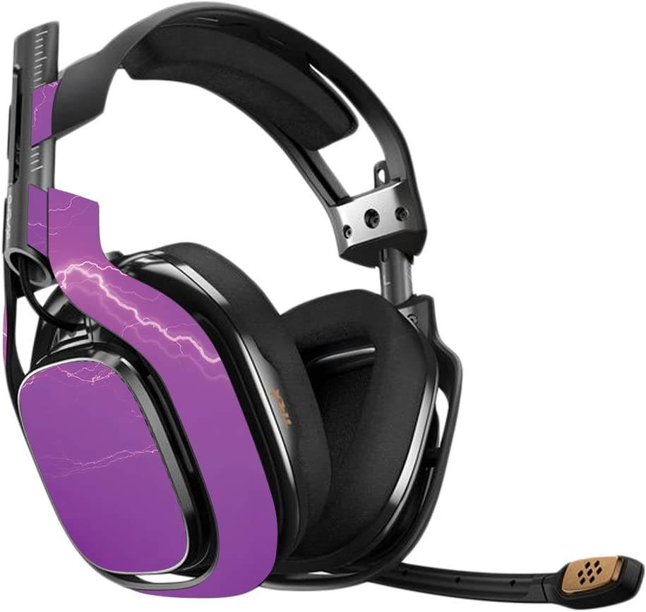MightySkins Skin Compatible with Astro A40 Gaming Headset - Purple Lightning | Protective, Durable, and Unique Vinyl Decal wrap Cover | Easy to Apply, Remove, and Change Styles | Made in The USA