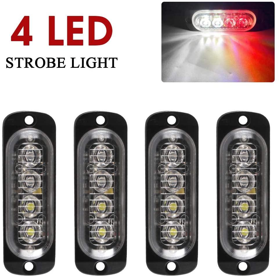 Yifengshun Emergency Strobe Lights, Universal 4 LED Surface Mount Red/White Emergency Warning Hazard Flashing Caution Light Bar for Off Road Vehicle, ATVs, Truck (4pcs)