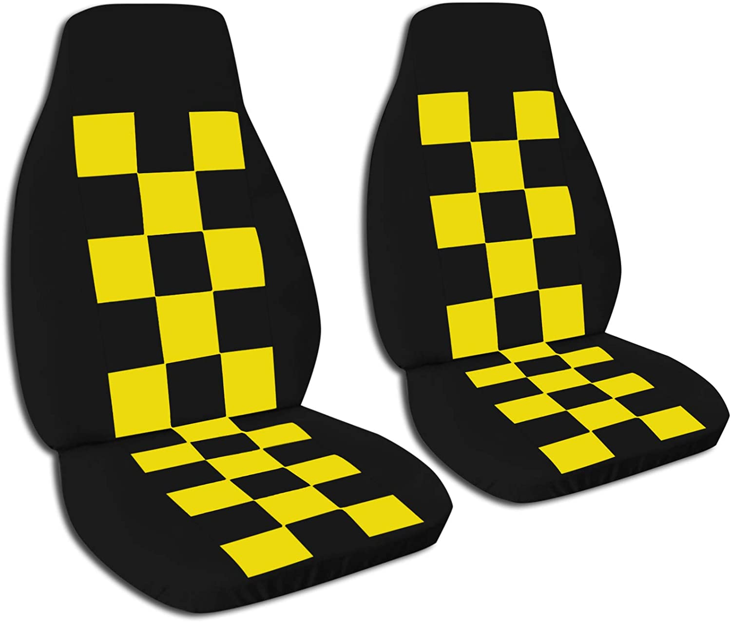 Totally Covers Checkered Car Seat Covers: Black & Yellow Checkers - Semi-Custom Fit - Front - Will Make Fit Any Car/Truck/Van/RV/SUV (21 Colors)