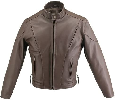 Men's Brown Vented Leather Jacket (38 Long/Tall)