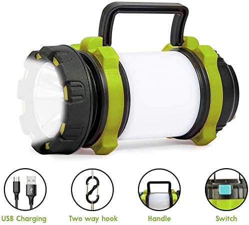 Rechargeable Camping Lantern Flashlight, 6 Modes,IPX4 Waterproof, 3600mAh Power Bank, Two Way Hook of Hanging, Perfect for Camping, Hiking, Outdoor Recreations, USB Charging Cable Included