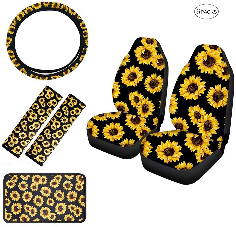 FOR U DESIGNS Sunflower 6 Packs Interior Car Accessories Set with 2pc Car Seat Cover + 1pc Steering Wheel Cover + 1pc Center Console Armrest Cover + 2 Pack Seat Belt Pads for Women Gift
