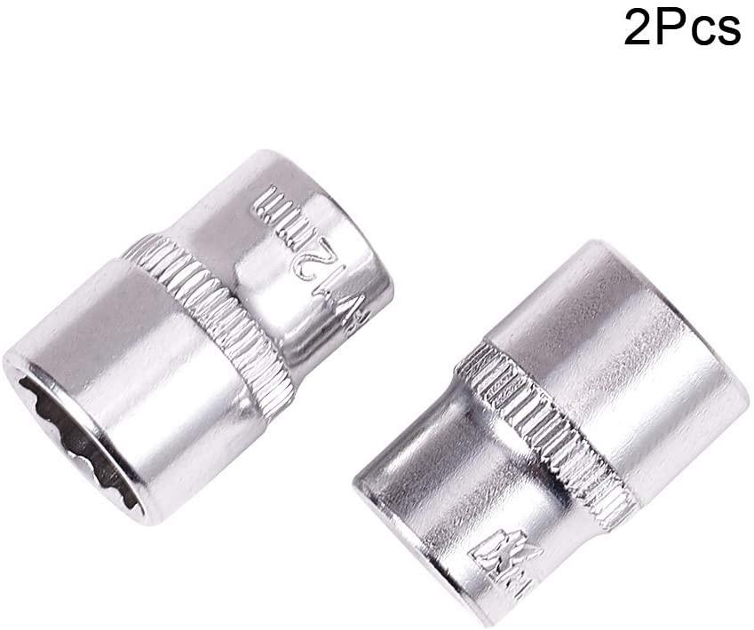 Utoolmart 1/4 Drive 12mm Chrome-vanadium Metric Total Length 25mm 12 Point Axle Nut Hex Socket 2pcs