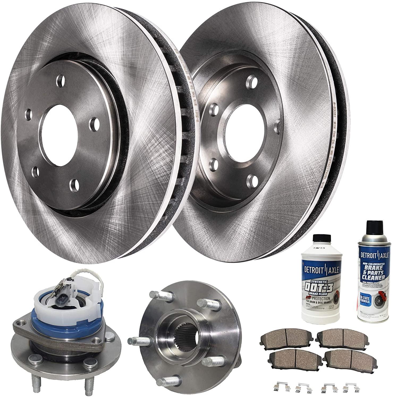 Detroit Axle - Front Wheel Bearing Hub Assembly and 303mm Disc Brake Kit Rotor w/Ceramic Pad Kit for 00-04 LeSabre - [97-05 Park Avenue] - 97-05 Deville - [00-04 Impala/Monte Carlo] - 00-03 Bonneville