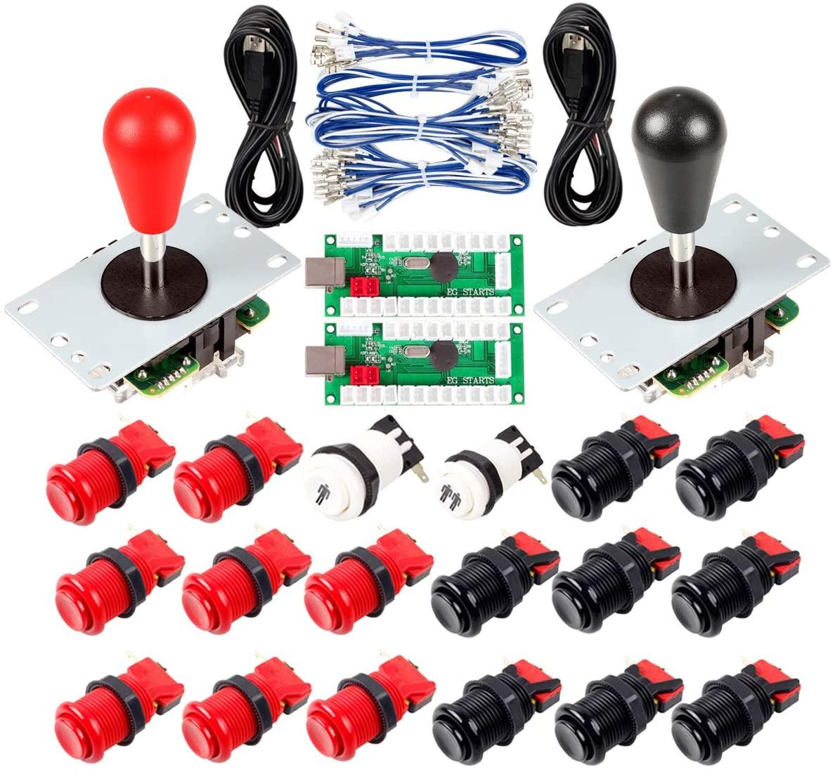 Avisiri 2 Player Arcade Joystick DIY Parts 2X USB Encoder + 2X Elliptical Joystick Hanlde + 18x American Style Arcade Buttons for PC, MAME, Raspberry Pi, Windows (Red & Black)
